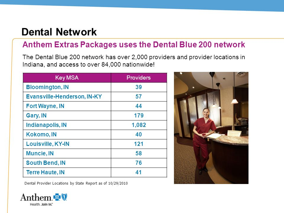 Dental Network Anthem Extras Packages uses the Dental Blue 200 network