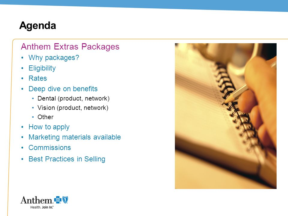 Agenda Anthem Extras Packages Why packages Eligibility Rates