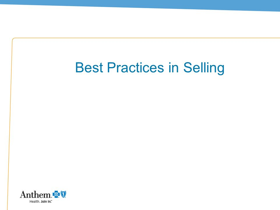 Best Practices in Selling