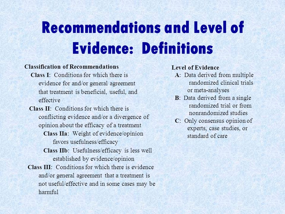 Recommendations and Level of Evidence: Definitions