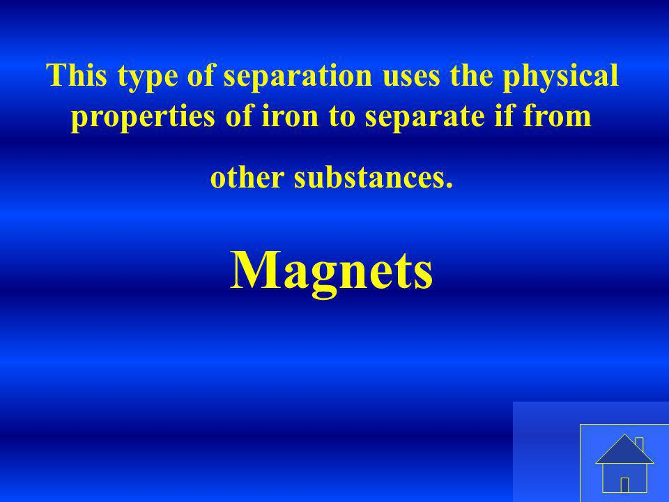 Eleanor M. Savko 4/7/2017. This type of separation uses the physical properties of iron to separate if from other substances.