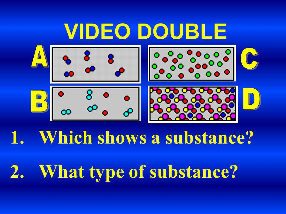 VIDEO DOUBLE Which shows a substance What type of substance A C D B