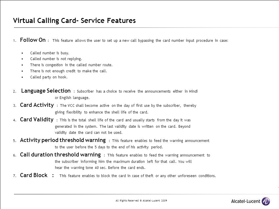 Virtual Calling Card- Service Features