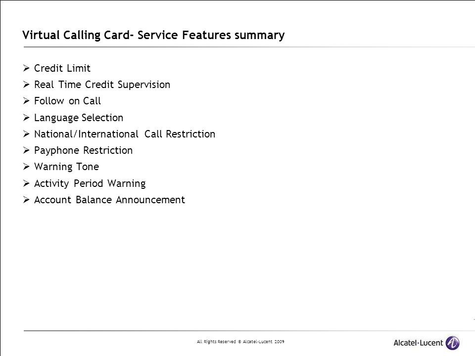 Virtual Calling Card- Service Features summary