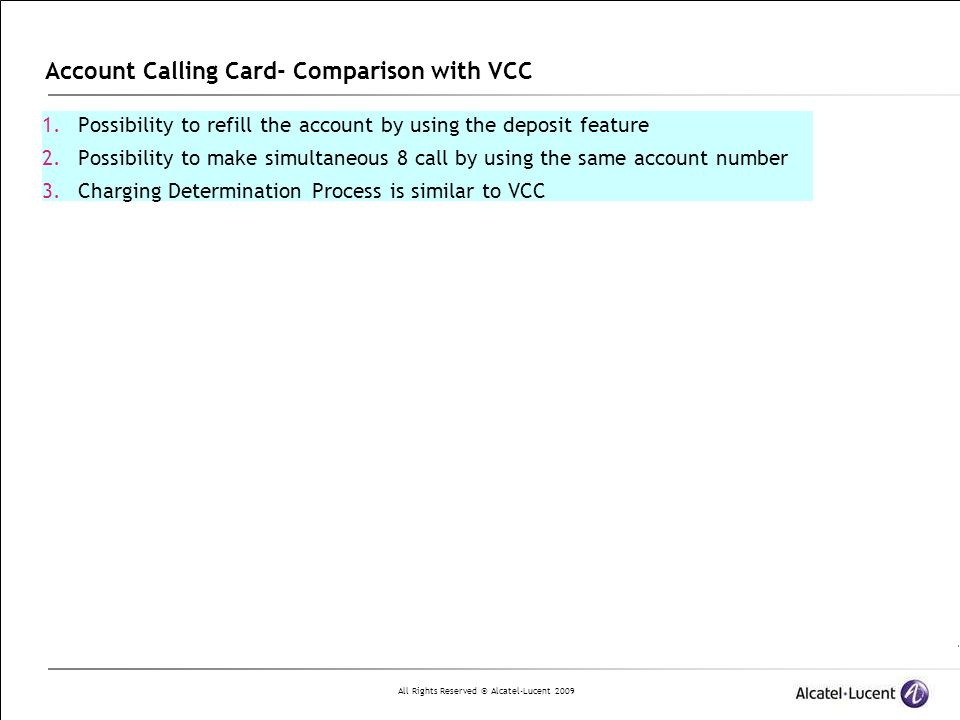 Account Calling Card- Comparison with VCC