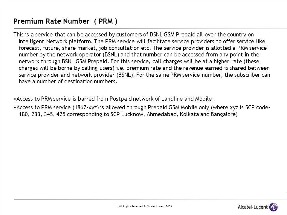Premium Rate Number ( PRM )