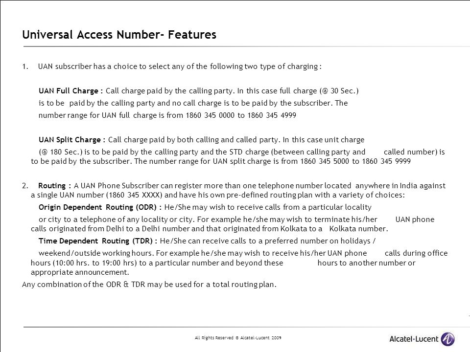 Universal Access Number- Features