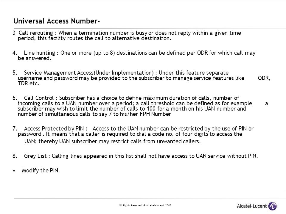 Universal Access Number-