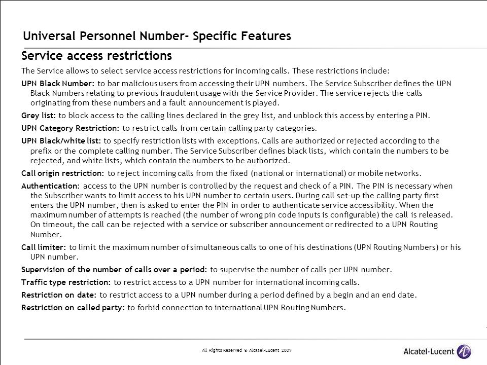 Universal Personnel Number- Specific Features