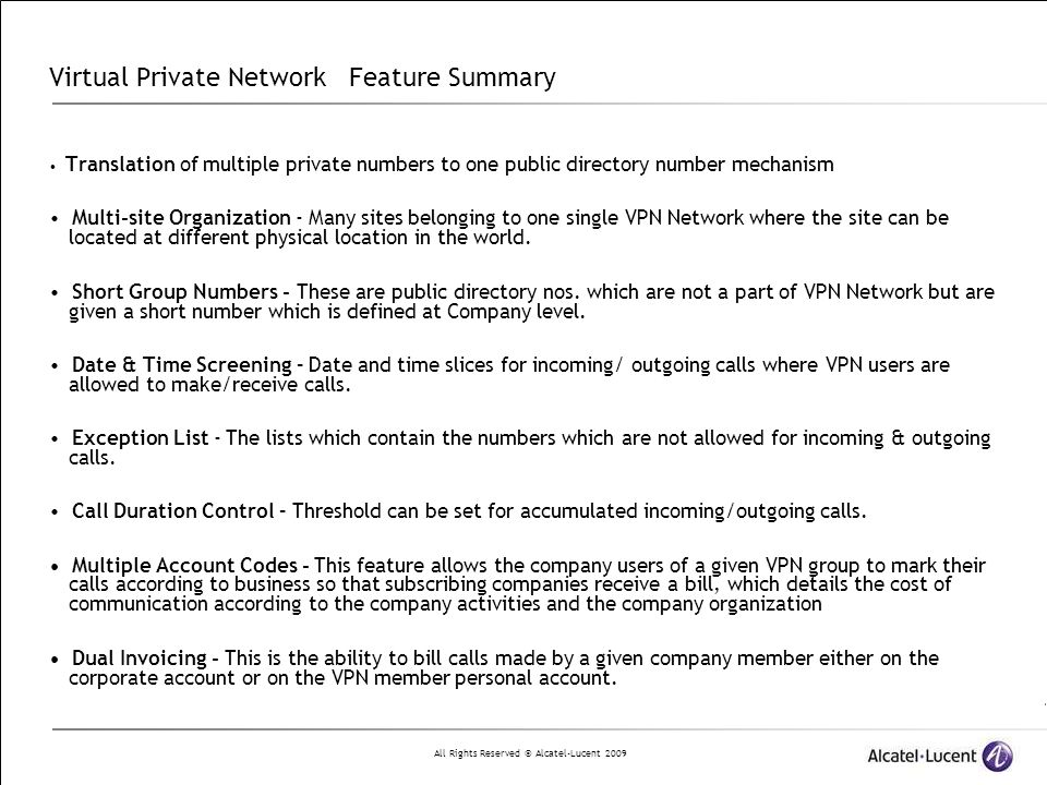 Virtual Private Network Feature Summary