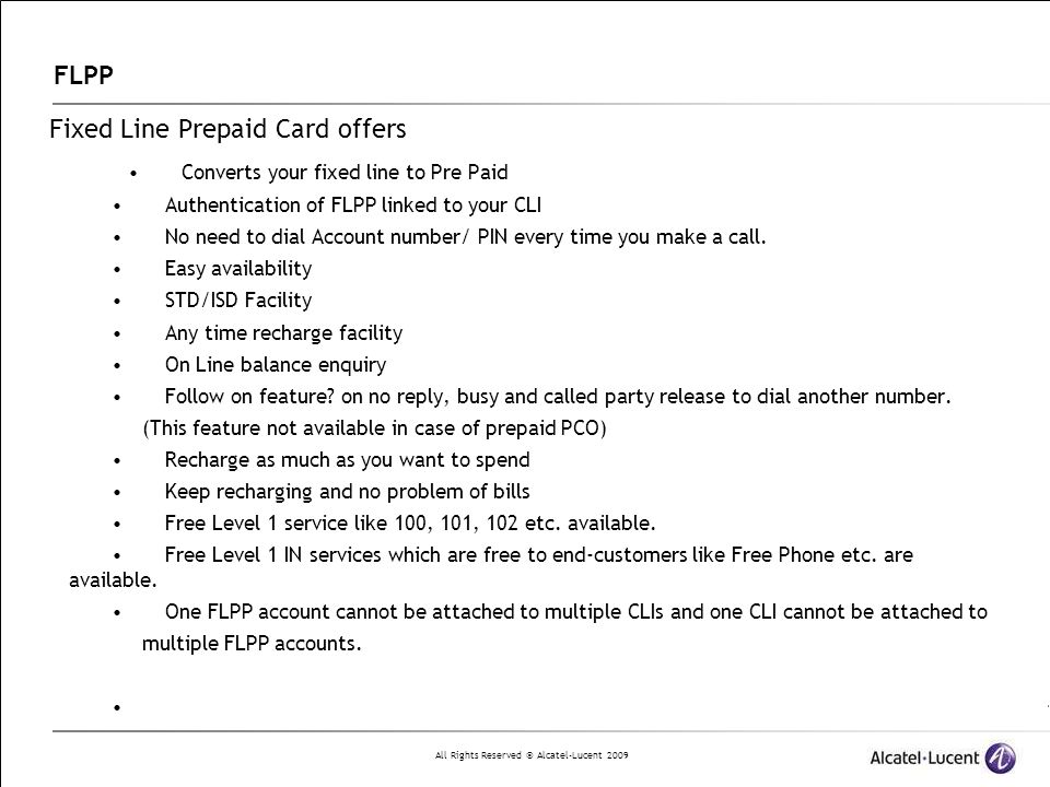 Fixed Line Prepaid Card offers • Converts your fixed line to Pre Paid