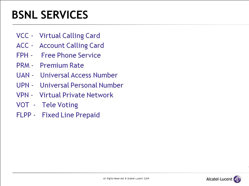 BSNL SERVICES VCC - Virtual Calling Card ACC - Account Calling Card