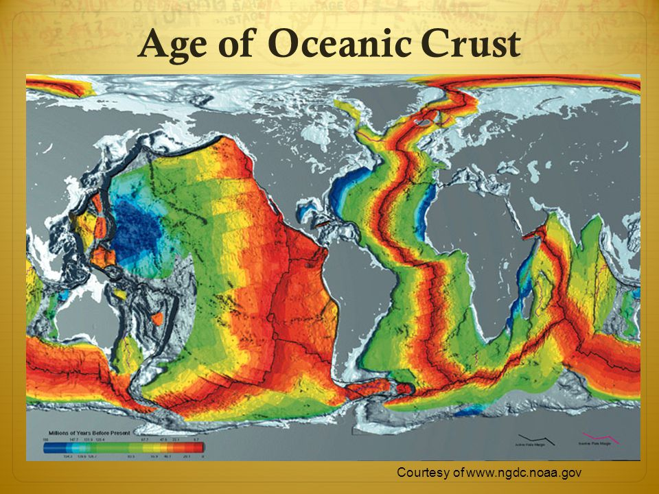 Age of Oceanic Crust Courtesy of www.ngdc.noaa.gov