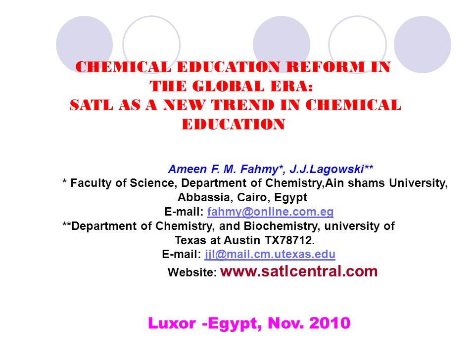 CHEMICAL EDUCATION REFORM IN THE GLOBAL ERA: