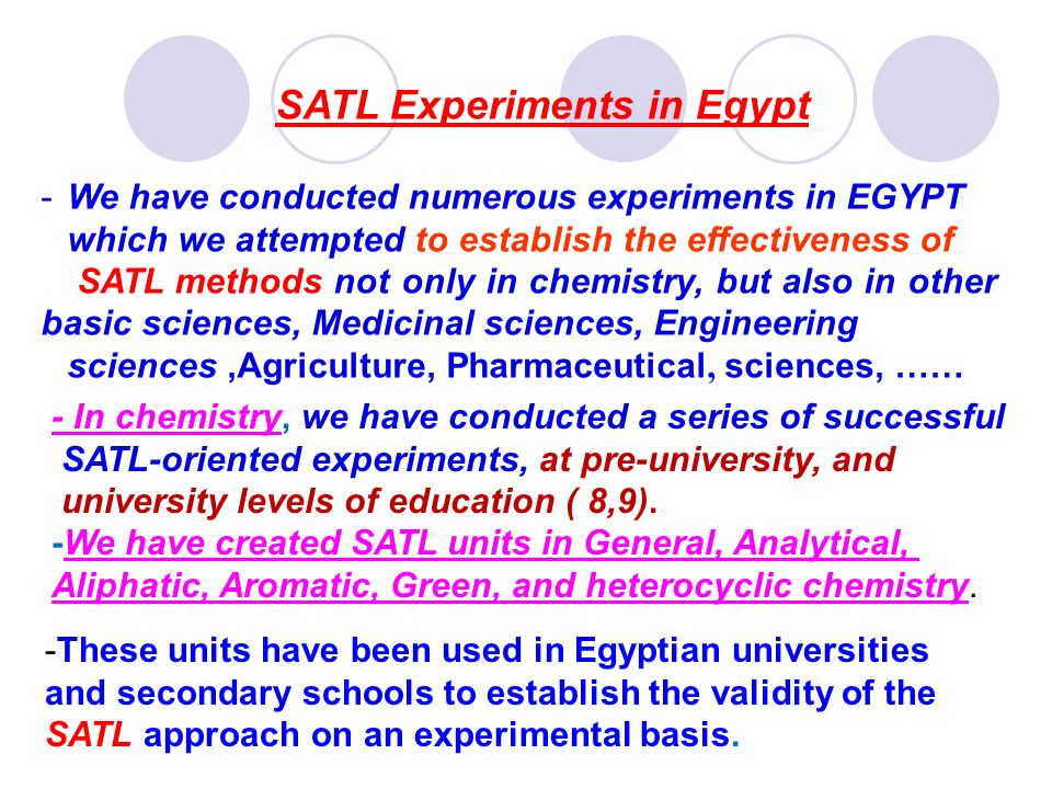 SATL Experiments in Egypt