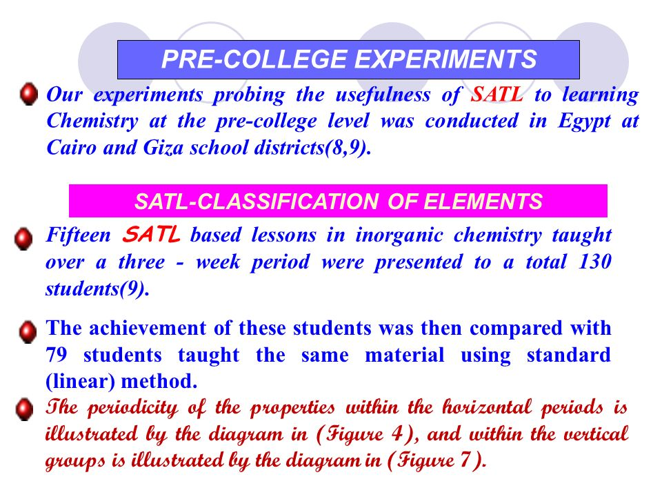 PRE-COLLEGE EXPERIMENTS SATL-CLASSIFICATION OF ELEMENTS
