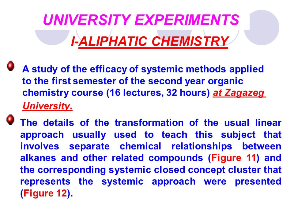 UNIVERSITY EXPERIMENTS I-ALIPHATIC CHEMISTRY