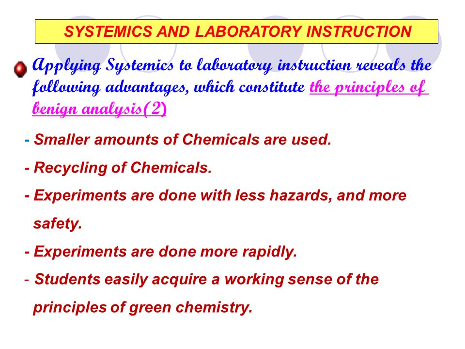 SYSTEMICS AND LABORATORY INSTRUCTION