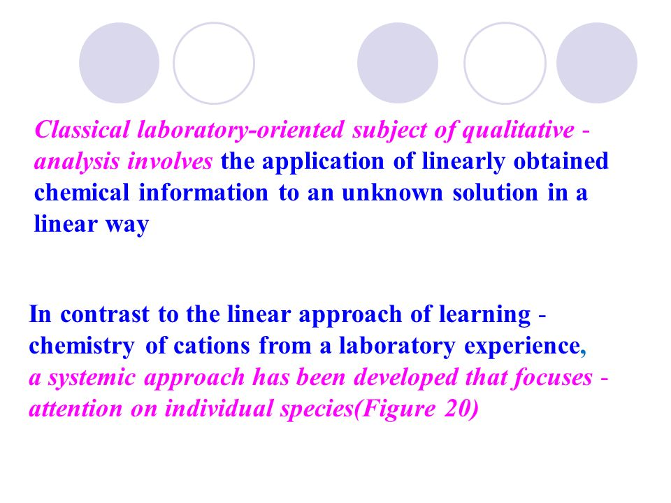 Classical laboratory-oriented subject of qualitative