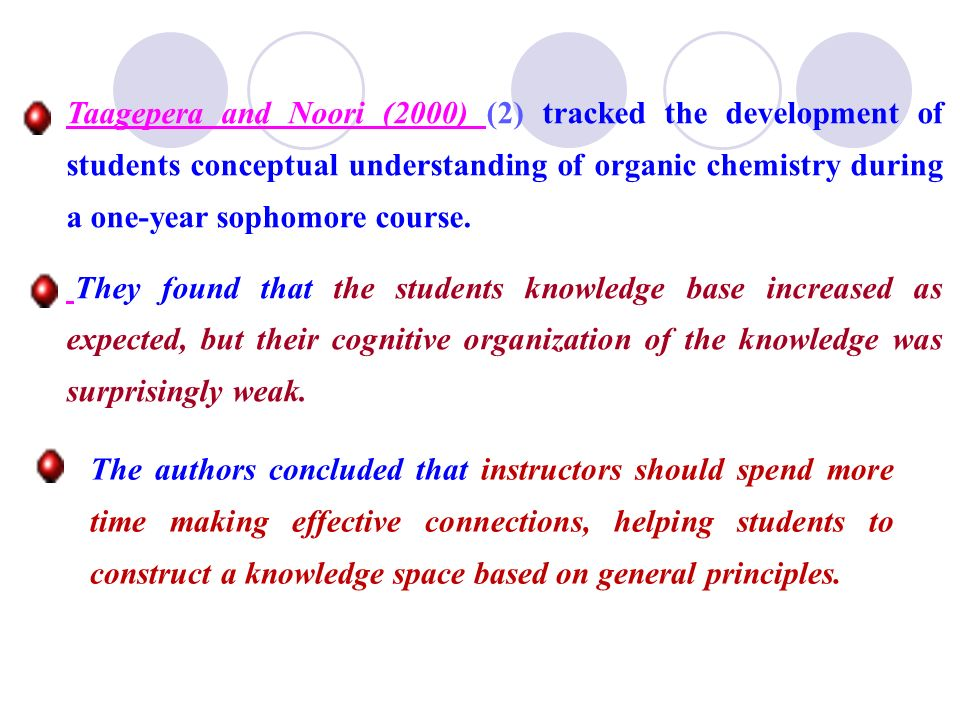 Taagepera and Noori (2000) (2) tracked the development of students conceptual understanding of organic chemistry during a one-year sophomore course.