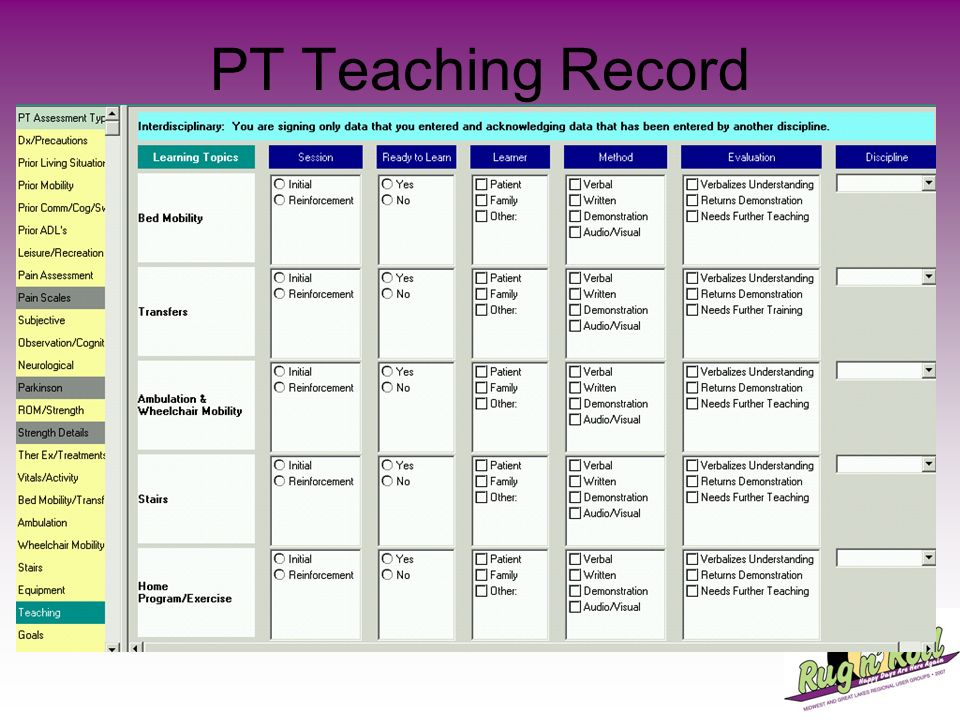 PT Teaching Record
