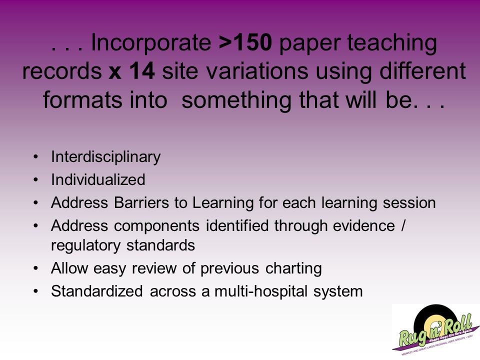. . . Incorporate >150 paper teaching records x 14 site variations using different formats into something that will be. . .