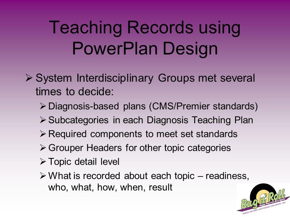 Teaching Records using PowerPlan Design