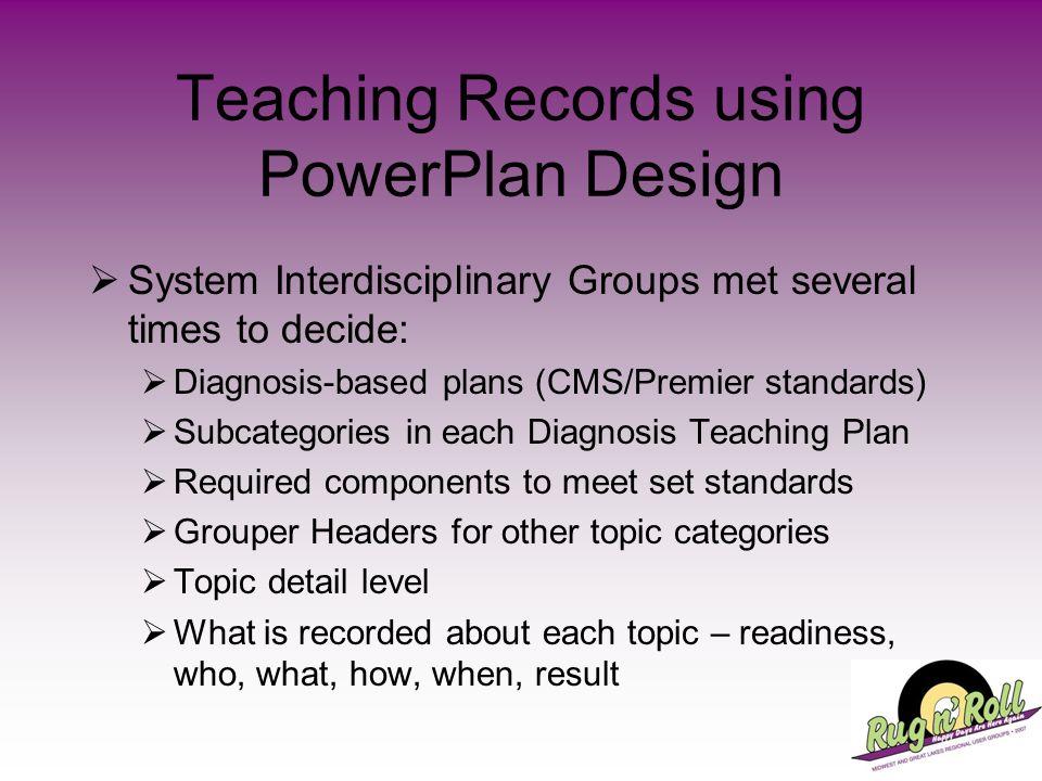 Teaching Records using PowerPlan Design