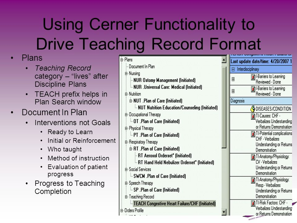 Using Cerner Functionality to Drive Teaching Record Format