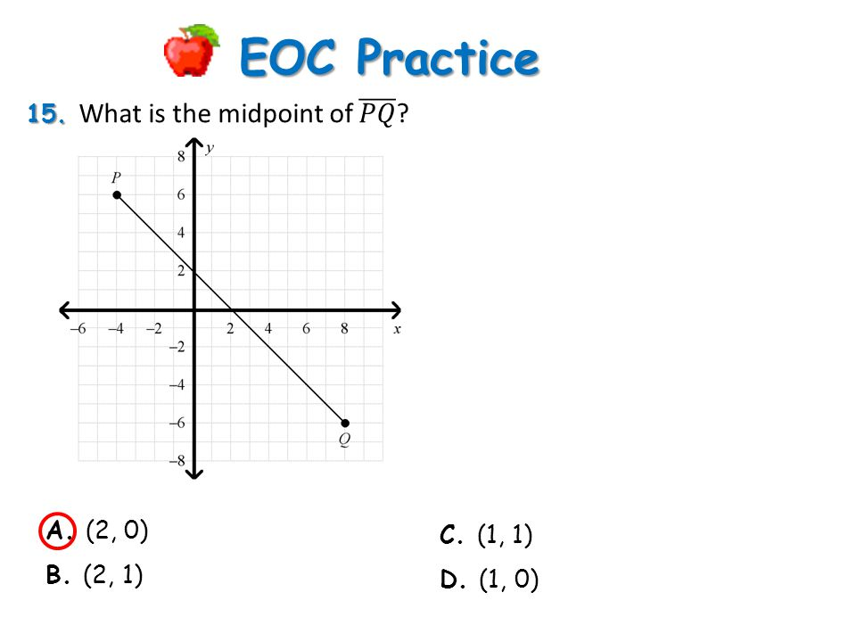 EOC Practice 15. What is the midpoint of 𝑃𝑄 A. (2, 0) C. (1, 1)