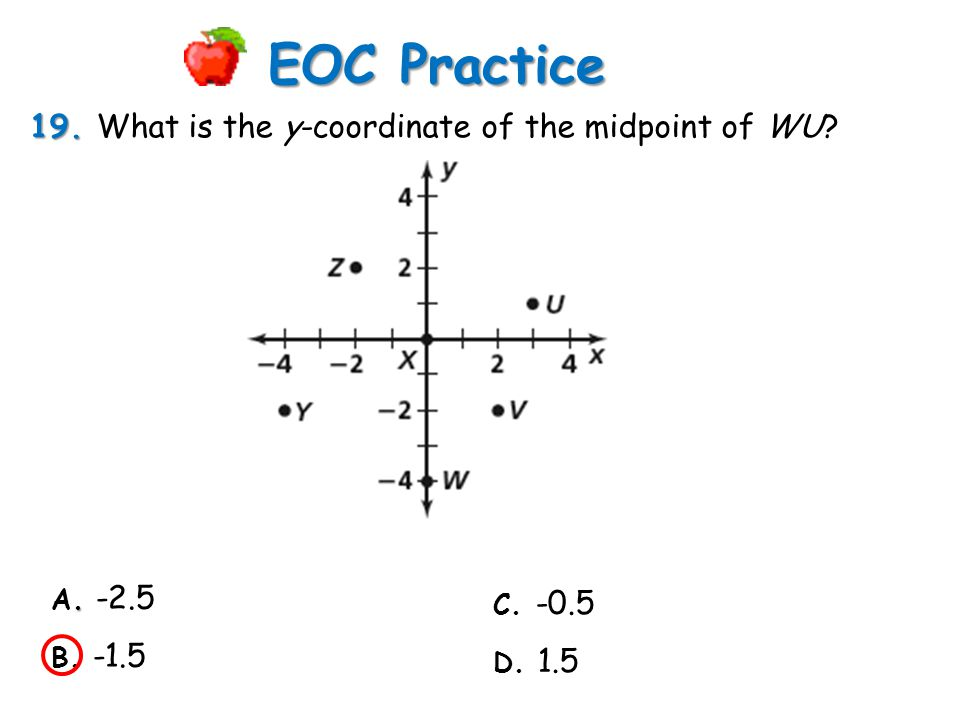 EOC Practice 19. What is the y-coordinate of the midpoint of WU