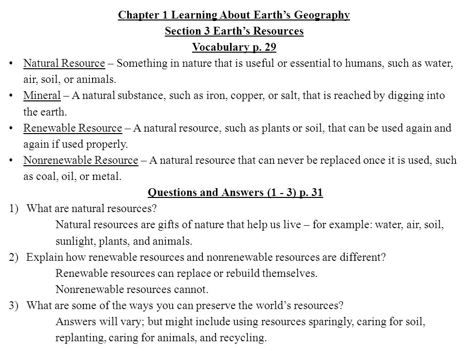 Chapter 1 Learning About Earth's Geography Section 3 Earth's Resources