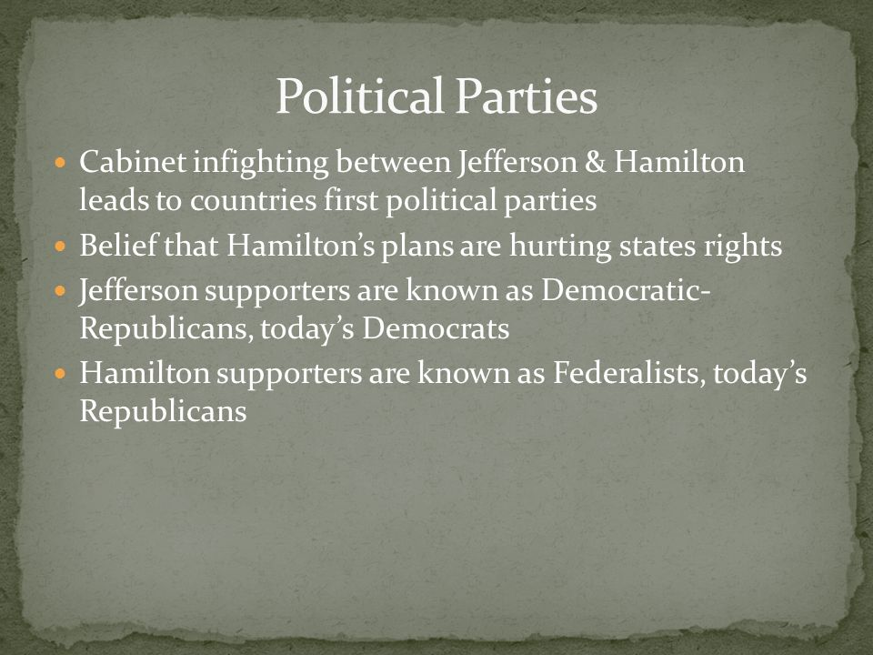 Political Parties Cabinet infighting between Jefferson & Hamilton leads to countries first political parties.