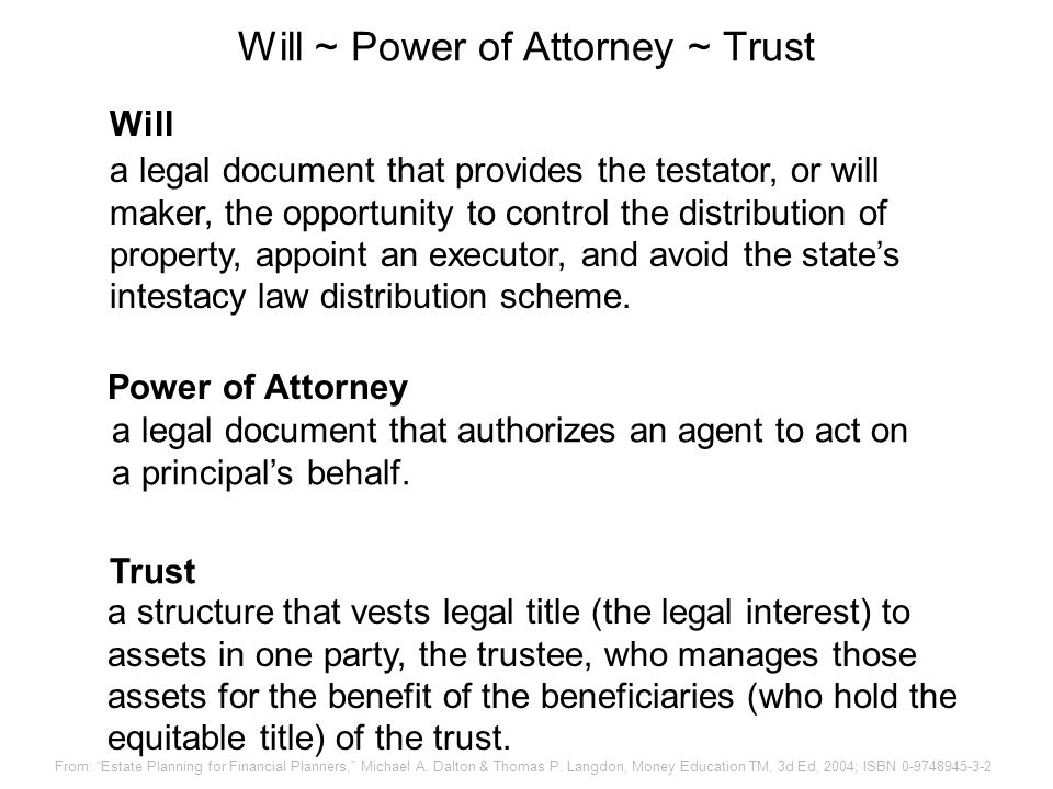 Will ~ Power of Attorney ~ Trust