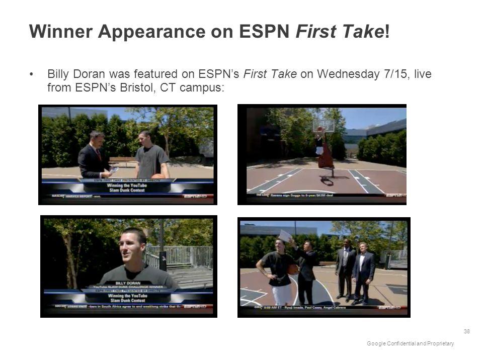 Winner Appearance on ESPN First Take!