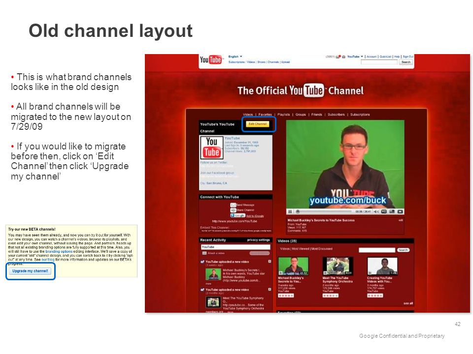 Old channel layout This is what brand channels looks like in the old design. All brand channels will be migrated to the new layout on 7/29/09.