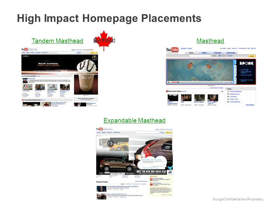 High Impact Homepage Placements
