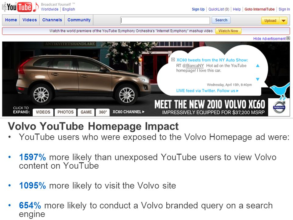 Volvo YouTube Homepage Impact