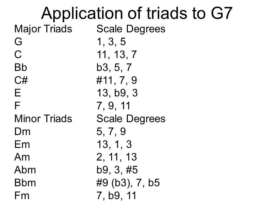 Application of triads to G7