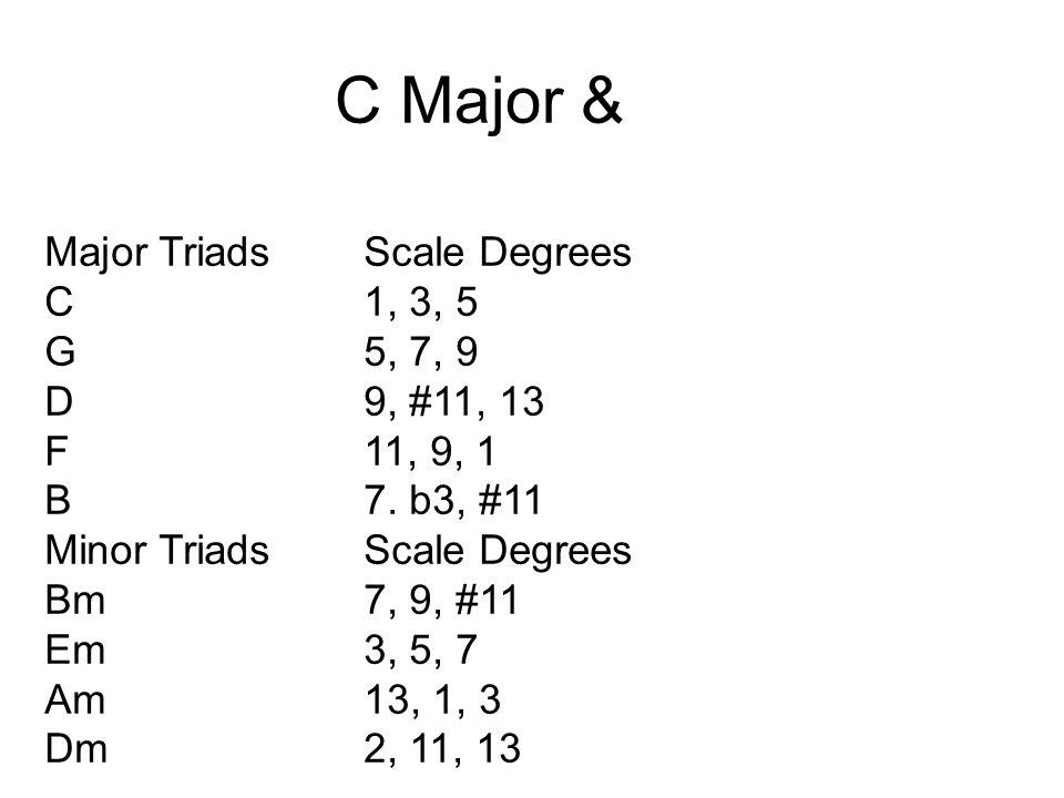 C Major & Major Triads Scale Degrees C 1, 3, 5 G 5, 7, 9 D 9, #11, 13