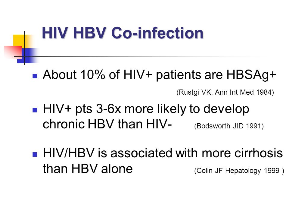 HIV HBV Co-infection About 10% of HIV+ patients are HBSAg+ (Rustgi VK, Ann Int Med 1984)