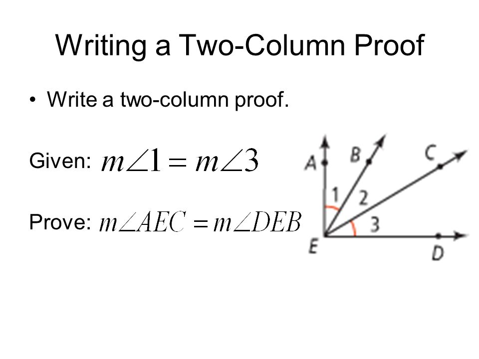 How to write a 2 column proof