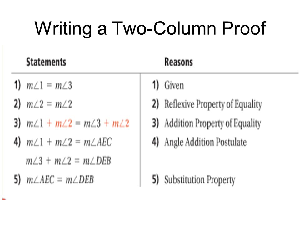 Writing Two-Column Geometric Proofs