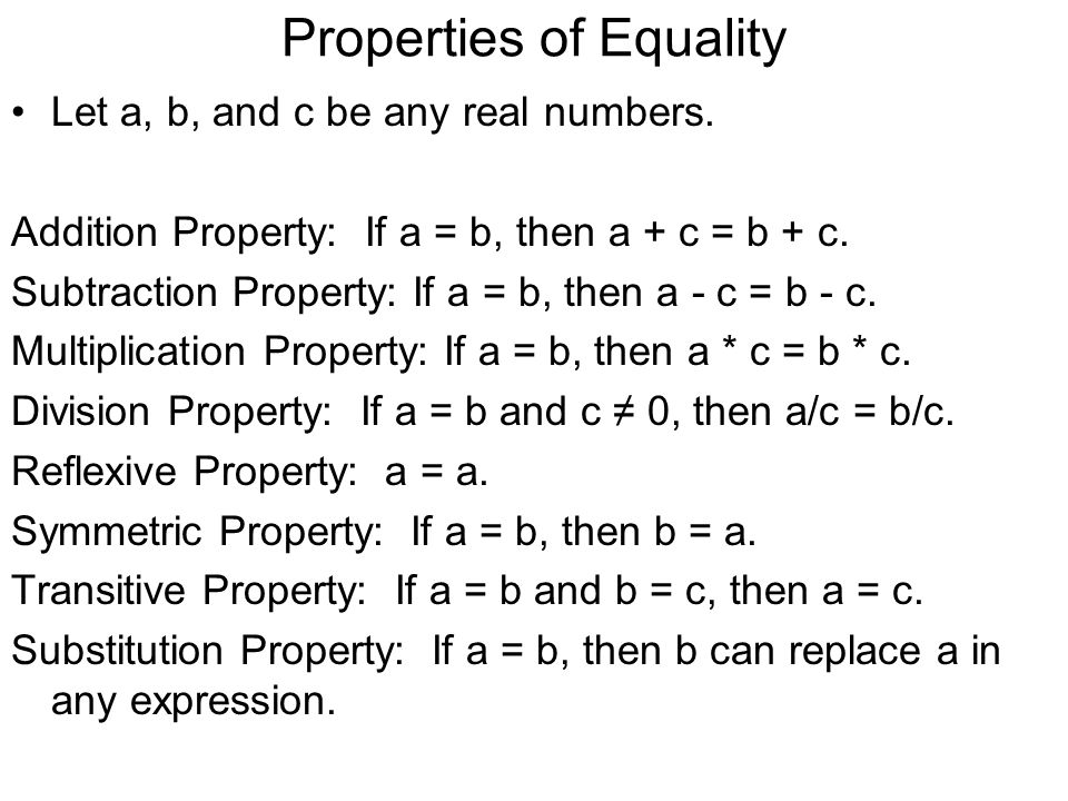 Reflexive Property Of Equality Real Numbers