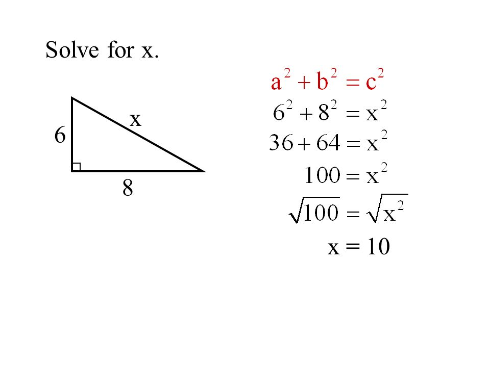 Solve for x. x 6 8 x = 10