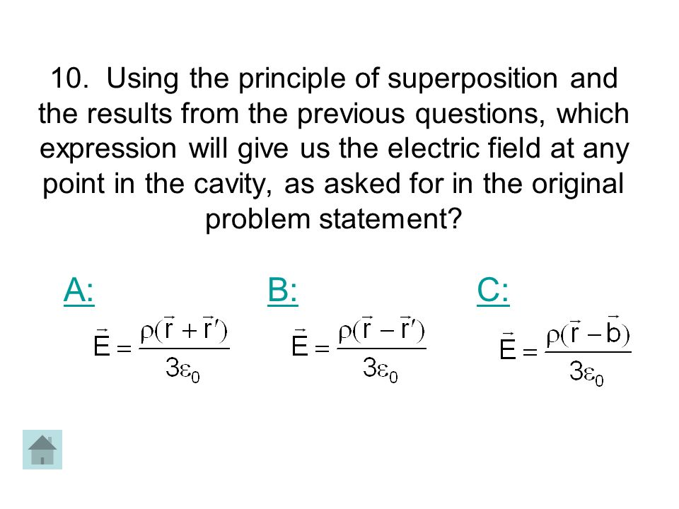 10. Using the principle of superposition and the results from the previous questions, which expression will give us the electric field at any point in the cavity, as asked for in the original problem statement