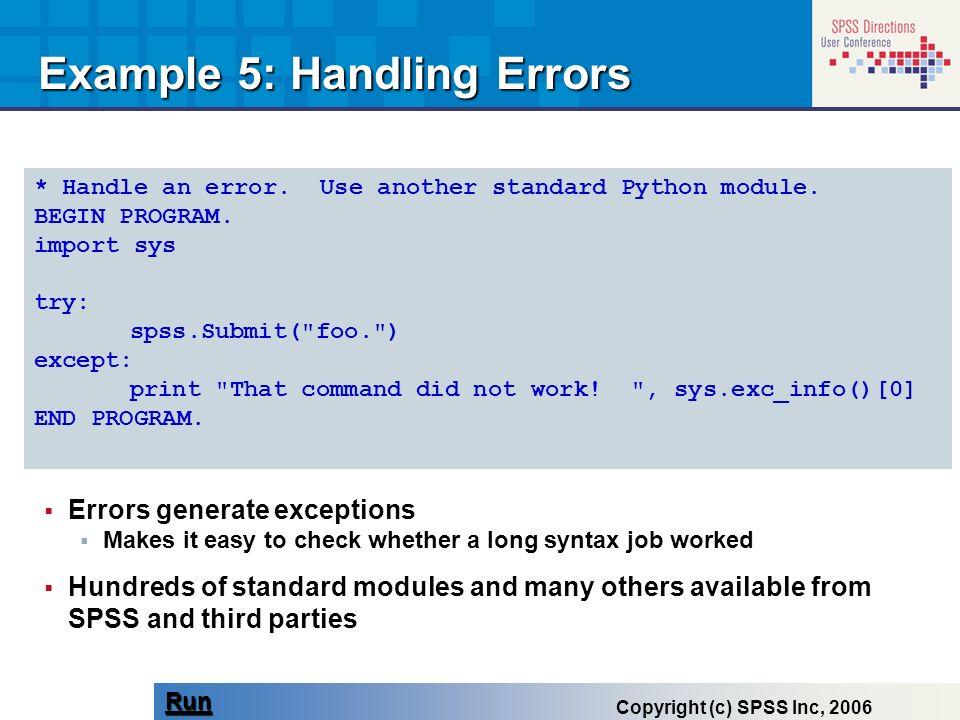 Example 5: Handling Errors