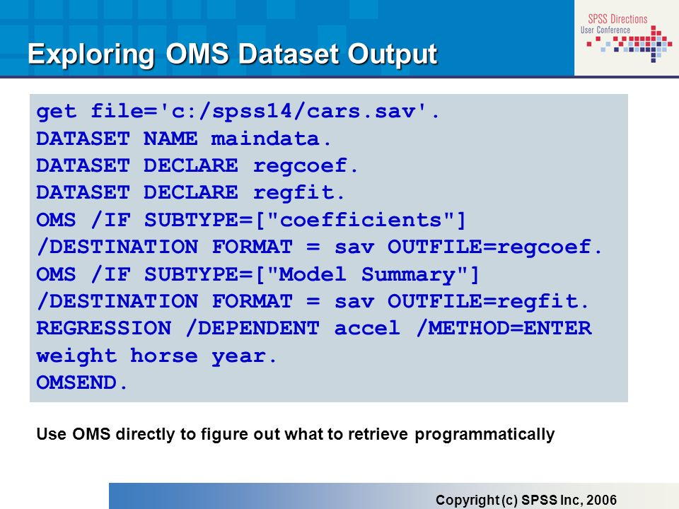 Exploring OMS Dataset Output