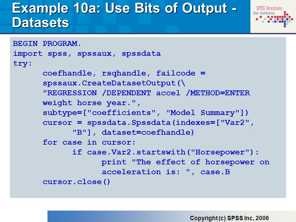 Example 10a: Use Bits of Output - Datasets