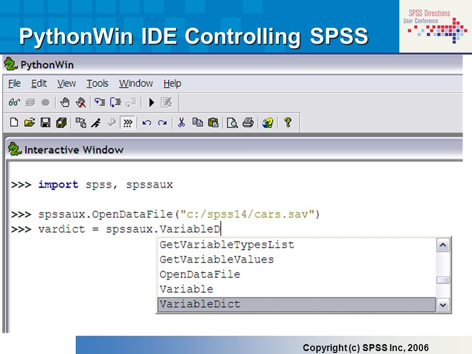 PythonWin IDE Controlling SPSS